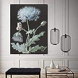Cartel de Arte de Pared Planta Flor Lienzo Lienzo Arte Sala de Estar decoración del hogar,Pintura sin marco-50X67cm