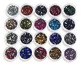 Hotfix Piedras de estrás, para Planchar, Calidad AAA, Juego de 20 Colores con Caja de clasificación, Piedras Brillantes, Perlas de Cristal, Autoadhesivas, Hot Glue, 2,6mm ~ 3mm SS10
