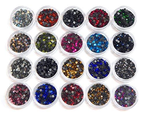 4800 Stück, Hotfix Strasssteine, zum Aufbügeln, AAA Qualität, 20 Farben Set mit Sortierbox, Glitzersteine, Glass Strass Perlen, Selbstklebend, Hot Glue (4,6mm ~ 5mm SS20)