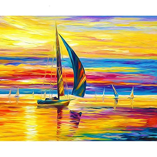 Alesx DIY schilderen, op nummer, kit voor boot en acrylverf op nummer, voor volwassenen, handgeschilderd schilderkunst 40x50cm Rahmenlos 40 x 50 cm, zonder lijst.