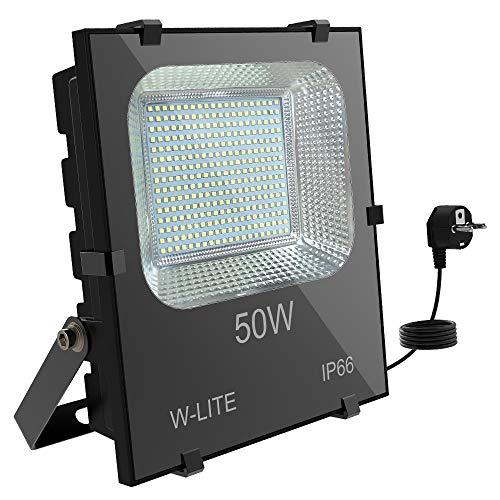 DLLT LED Superhell Strahler Außen 50W, 300 LED-Chips 6000k Kaltweiß, 4500lm IP66 Wasserfest, 400W Halogenlampenäquivalent, Aluminium Flutlicht mit EU-Stecker für Park, Garten, Garage, Vorplatz