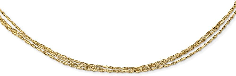 14k Yellow Gold Three Strand Twisted Stretch Link Mesh Chain Necklace Pendant Charm Fine Jewelry For Women Gifts For Her