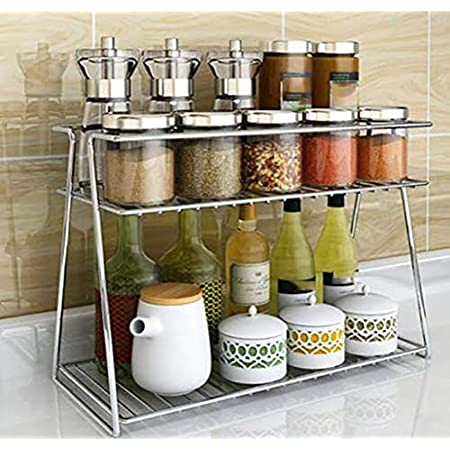 EverEx Stainless Steel Spice 2-Tier Trolley Container Organizer Organiser/Basket for Boxes Utensils Dishes Plates for Home (Multipurpose Kitchen Storage Shelf Shelves Holder Stand Rack)