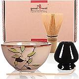 Goodwei Juego de té Matcha Premio - Cuenco Ceremonial, Batidor de Bambú y Soporte (Bamboo, 80)
