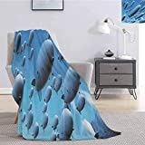 Luoiaax Zeppelin Children's Blanket Many Fleet Airships Flying in The Sky Aviation Flight Invasion Air Picture Print Lightweight Soft Warm and Comfortable W70 x L90 Inch Pale Blue