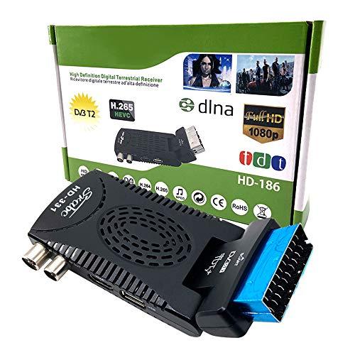 Ashey Scart DVB-T, Digital-HD-TV-Empfänger-Recorder Tuner Set-Top-Box für DVB-T2 HEVC 265 Digital-TV-Empfänger H.265 TV-Tuner Receptor FTA DVB-T2 TDT Full-HD-Decoder TV Scart