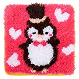 LUBOTS 12' X 12' Penguin Latch Hook Kits Rug Making Kits DIY for Kids/Adults with Printed Canvas Pattern