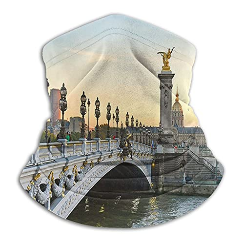 Alexandre Iii Bridge Paris Unisex Multifunctional Dustproof Face Masks Neck Gaiter Neck Warmer Scarf Balaclava for Outdoor Sports