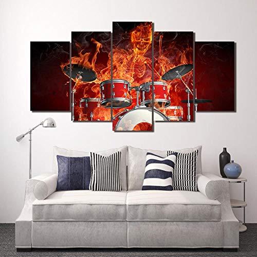 YIMENGSX HD Impreso 5 Piezas Lienzo Arte Llama Esqueleto Batería Cráneo Tambores Fuego Pintura Pared Cuadros Decorativos/ny-1527, con Marco, Tamaño 1