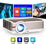 Bluetooth LCD Smart TV Projector with Wi-Fi Android, Home Entertainment Theater 5000LM Projectors Support 1080P Full HD 200' Display Airplay Wireless Mirror Smartphone, Built-in HiFi Speaker, Zoom