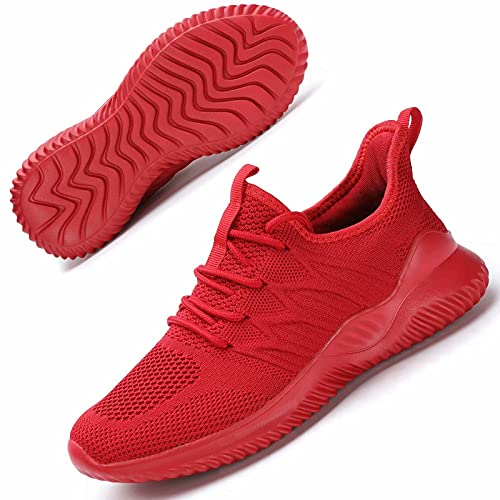 Women's Running Shoes Girls Slip on Tennis Walking Sneakers Lightweight Breathable Comfort Work Gym Trainers Stylish Shoes Red