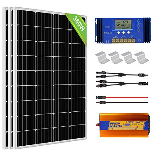 ECO-WORTHY 360W 12V Sistema de panel solar fuera de la red con paneles solares de 120W + Controlador de carga de 20A + Inversor de 1000W 12V + Montajes para barco RV