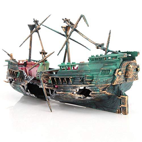 ZSLLO grote gebroken boot schip vorm gescheiden gezonken scheepswrak drijvend wrak voor aquarium decoratie vis tank ornamenten huisdecoratie