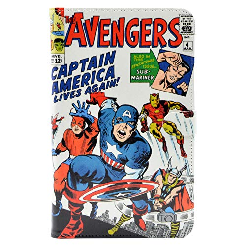 TPACC Case for Amazon Fire 7 Tablet (Fire 7' Display 5th/7th/9th Generation - 2015/2017/2019 Release) Leather Slim Folding Multi-Angle Viewing Protective Stand Cover,Cartoon Comic Superhero Alliance