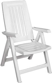 SF SAVINO FILIPPO Sillón tumbona plegable reclinable regulable Diana de resina de plástico dura blanca para tomar el sol para playa, piscina, camping, jardín, balcón o casa