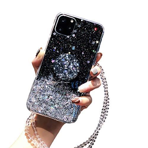 Kesv Funda Bling Glitter con Cordón para OPPO Reno 2 Brillante Transparente Carcasa de movil con Cuerda para Colgar en Silicona TPU