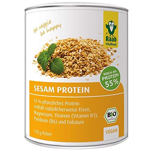 Raab Vitalfood Bio Sesam-Protein Pulver, rein pflanzliches Proteinpulver mit 55 % Eiweiß, aus biologischem Anbau, vegan, laborgeprüft, 110 Gramm