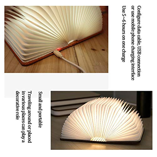 Desk LED Wooden Book Light Folding Night Light Gift Book USB Large Capacity Rechargeable Table Lamptable lamp Novelty Decoration Birthday Gift (Miedum) 6