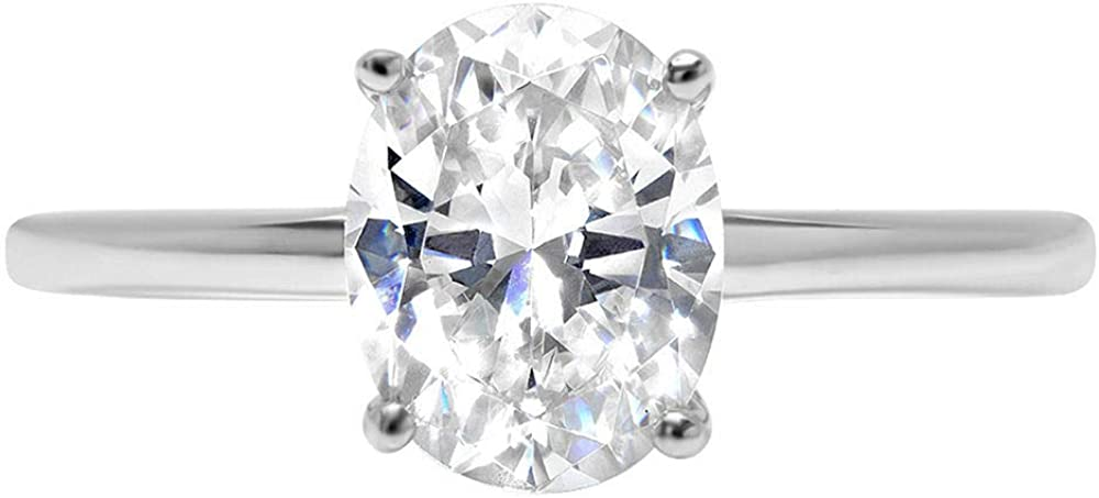 2.5ct Brilliant Oval Cut Solitaire Genuine Moissanite Flawless Ideal VVS1 D 4-Prong Engagement Wedding Bridal Promise Anniversary Ring in Solid 14k White Gold for Women