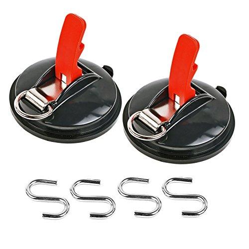 Saugnapf Befestigung max. 10 kg mit S Ring 2er Set Klappsauger für Vorzelte, Sonnensegel, Planen und Fahrzeugabdeckungen