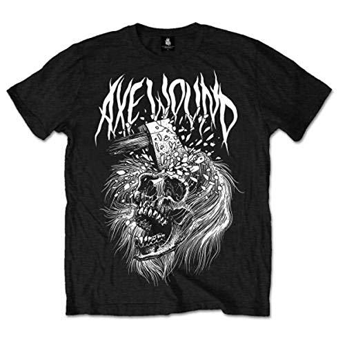 Axe Wound Skull T-shirt voor heren, Zwart, XXL