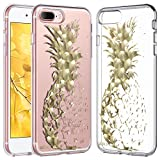 ULAK iPhone 8 Plus Case, iPhone 7 Plus Case Clear with Flower Design, Slim Fit Heavy Duty Protection Hard PC Back Soft Silicone Bumper Case Cover for iPhone 8 Plus / 7 Plus 5.5 Inch, Pineapple