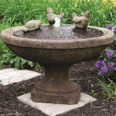Fuente Oval de pájaros Massarelli tibetano función de agua para jardín: Amazon.es: Hogar
