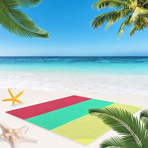 carol -1 Stranddecke Picknickdecke, Ultraleicht Kompakt Verschleißfest Nylon Strandtuch,Wasserdicht und Sandabweisend Campingdecke Perfekt für Den Strand, Picknick, Camping