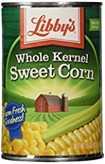 Premium corn that preserves its naturally sweet flavor and color Canned Whole Kernel Sweet Corn, 15 Ounce Can (Pack of 12) All natural; Quick and easy side dish or recipe ingredient Kosher Convenient; Fully cooked; Ready to eat Grown and packed in th...