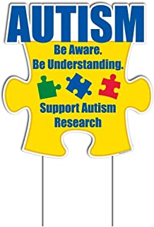 """VictoryStore Yard Sign Outdoor Lawn Decorations - Autism Awareness Yard Sign Puzzle Piece 21"""" X 21.5"""" Includes 2 EZ Stakes"""