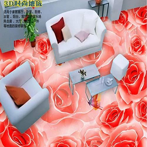Wuyii Gebruikergedefinieerde vloerbedekking lijm rode roos vlinder mode 3D woonkamer dikke waterdichte skivloerbedekking tegels decoratie 280 x 200 cm.