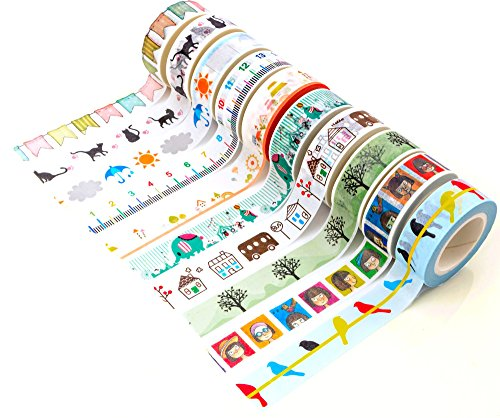 Funny Washi Tape (Set of 10 Rolls) Japanese Decorative Paper Tape, Funny Collection by DIY Crew