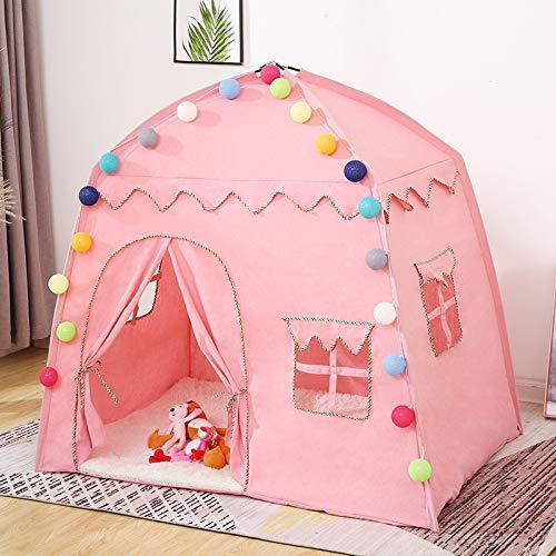 Tienda Wigwam Para Niños Tienda De Juegos Tipi Para Niños Tienda De Campaña Plegable Para Niños Castillo De Princesa Casa De Campaña Casa De Juegos Para Niños De Gran Espacio Tienda Para Niñas,Pink