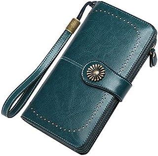 Portafogli da donna con blocco RFID, portafogli da donna in pelle lunga grande capacità per donna (Blu)