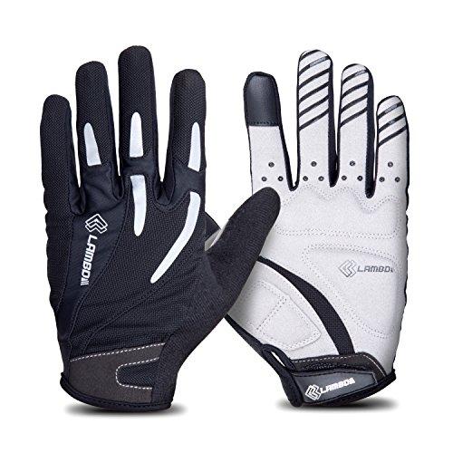 4Ucycling Vollfinger Fahrrad Handschuhe Touchscreen Radhandschuhe Gepolsterte Fitness Handschuhe für Rennrad MTB Radposrt Schwarz M