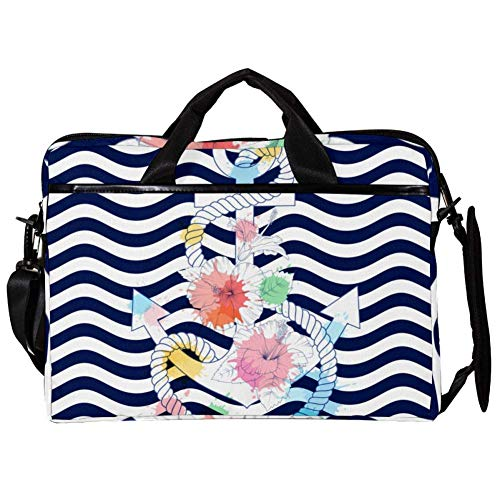 TIZORAX Laptop Messenger Shoulder Bags Anchor with Hibiscus Flowers Computer Sleeve Notebook Carrying Case 15-15.4 inch Handbag