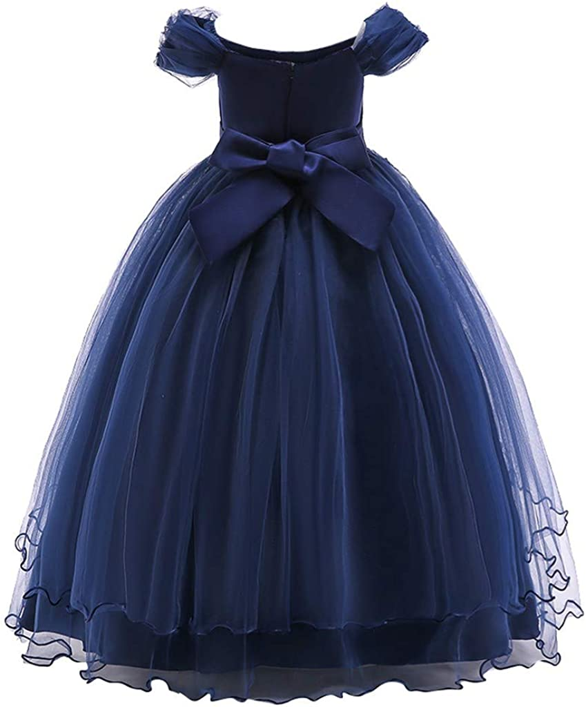 LISfsa Girls Pageant Lace Embroidery Dresses Kids Girl Off Shoulder Princess Pageant Gown Party Wedding Long Evening Dress