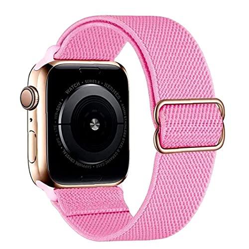 Odoukey Banda de Nylon Correas de Reloj Compatible con iWatch 42mm 44mm Ajustable reemplazo Estiramiento Pulsera de Color de Rosa
