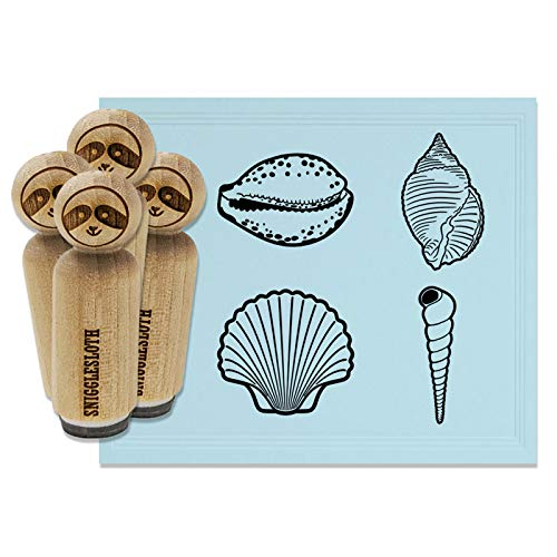 Tropical Beach Seashell Collection Rubber Stamp Set for Stamping Crafting Planners - 1/2 Inch Mini
