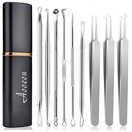 Pimple Popper Tool Kit Blackhead Remover, Aooeou Acne Removal Comedone Extractor Kit Pimple Tweezers for Pimples, Blackheads, Blemish, Whitehead, Zit Removing for Forehead Nose Facial Pore
