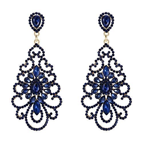 Pendientes de Mujer - Clearine Aretes en Forma de Flores Floral Candelabro, Estilo Retro Precioso Cristales para Boda Novia Fiesta