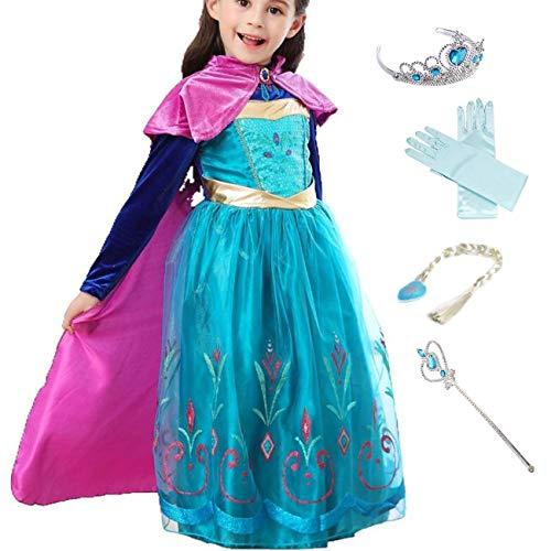 LOBTY Anna Kostüm Prinzessin Mädchen Kleid Eiskönigin Prinzessin Kostüm Kinder Erwachsene Kleid Mädchen Weihnachten Verkleidung Karneval Party Halloween Fest