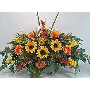 S816 Fall, Autumn Cemetery Arrangement, Headstone Saddle, Grave, Tombstone Arrangement, Cemetery Flowers