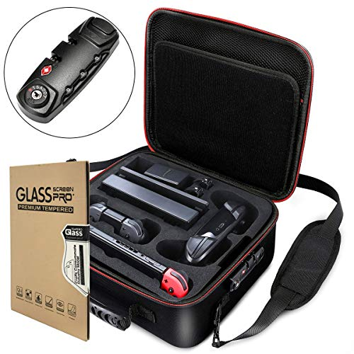 Locking Carry Case for Nintendo Switch Hardshell Deluxe Bag w/Anti-Theft TSA Combination Lock - Include 1 Tempered Glass Screen Protector