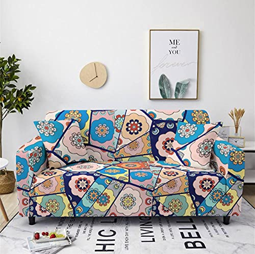 Sofa Cover Stretch Elastic Blue pink flower Printed Sofa Slipcover 4 Seater Polyester Spandex Furniture Decorative Soft Loveseat Couch Covers Chair Protector for Pets Kids Sofa Covers