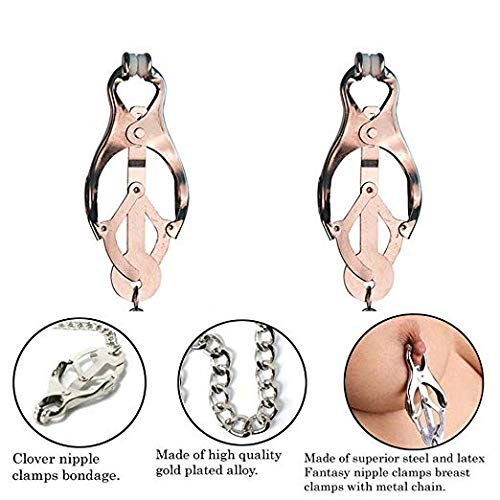 Siminey Non-Piercing Metal Body Jewelry Safe Níp-plé Clamps Adjustable Women Jewelry Body Chains Clamps for ŜM Game
