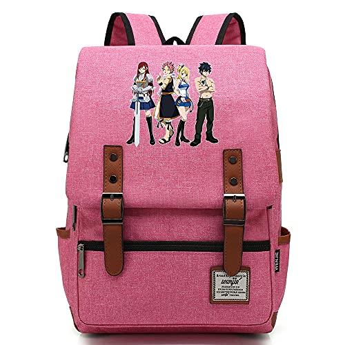 Hydxsjh Fairy Tail Mochila para Portátil De 16 Pulgadas Vintage para Portátil Anime Backpack Cartoon Animation,E