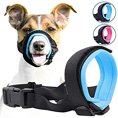 Gentle Muzzle Guard for Dogs - Prevents Biting Unwanted Chewing Safely Secure Comfort Fit - Soft Neoprene Padding - No More Chafing - Included Training Guide Helps Build Bonds Pet