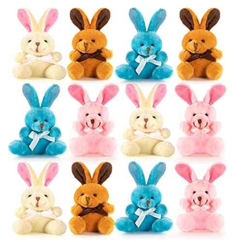 Easter Colored Soft Plush Bunnies Perfect Easter Eggs Filler or Easter Baskets Filler - 12 Pack