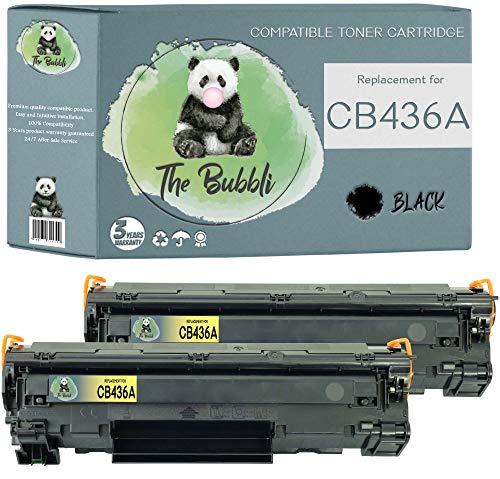 The Bubbli Original | CB436A 36A Tóner Compatible para HP Laserjet P1505n P1505 M1522nf MFP M1120 MFP M1522 MFP M1522n MFP M1120n MFP (2 Negro)
